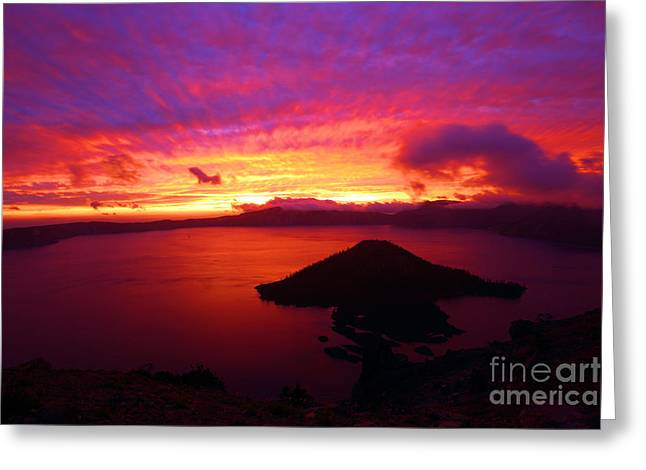 Crater Lake Sunset Greeting Cards - Fire Over Wizard Island Greeting Card by Adam Jewell
