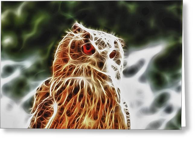 Tilly Art Greeting Cards - Fire Owl Greeting Card by Tilly Williams