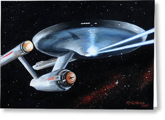 Trek Greeting Cards - Fire Phasers Greeting Card by Kim Lockman