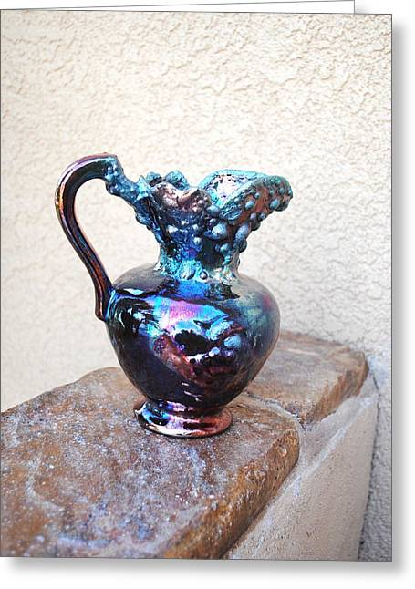 Raku Ceramics Greeting Cards - Fire Pitcher Greeting Card by John Johnson