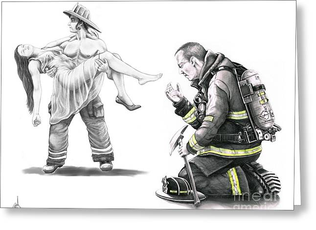 Rescue Drawings Greeting Cards - Fire Rescue Greeting Card by Murphy Elliott