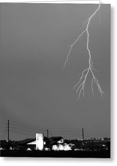 Images Lightning Greeting Cards - Fire Rescue Station 67  Lightning Thunderstorm 2C BW Greeting Card by James BO  Insogna