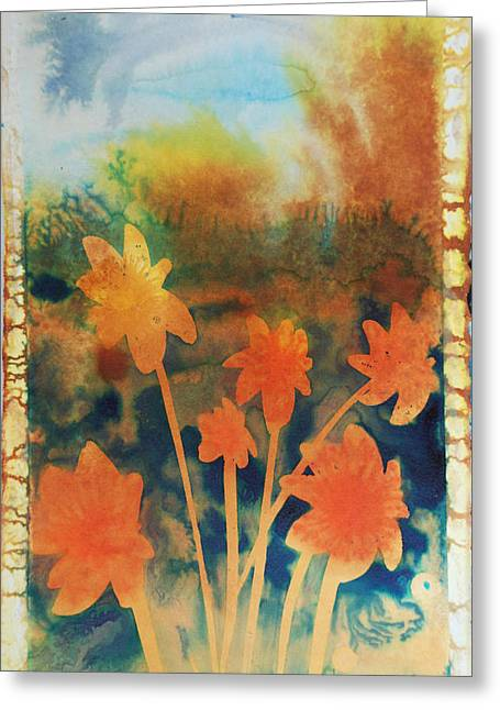 Amy Bernays Greeting Cards - Fire Storm In The Wild Flower Meadow Greeting Card by Amy Bernays