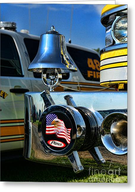 Eagle And Flag Greeting Cards - Fire truck bell Greeting Card by Paul Ward
