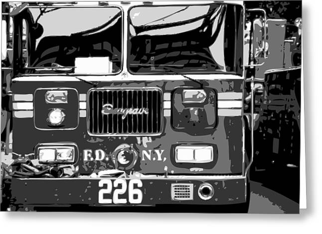 The Capital Of The Universe Greeting Cards - Fire Truck BW6 Greeting Card by Scott Kelley