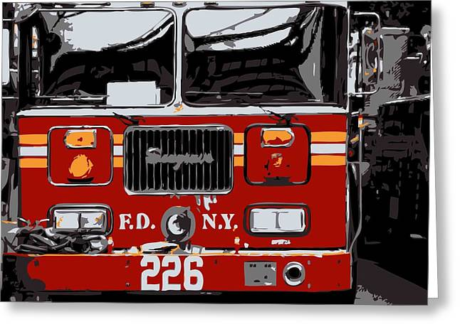 I Heart Ny Greeting Cards - Fire Truck Color 6 Greeting Card by Scott Kelley