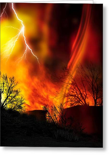 Bushfire Greeting Cards - Fire Whirl, Artwork Greeting Card by Victor Habbick Visions