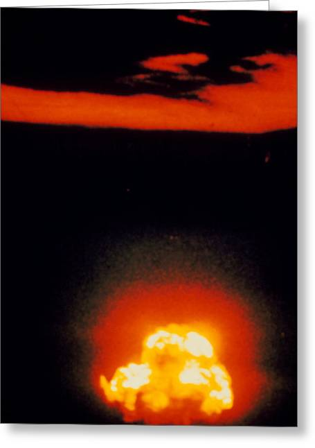 Atomic Bomb Greeting Cards - Fireball & Cloud After 1st Atomic Bomb Detonation Greeting Card by U.s. Army.