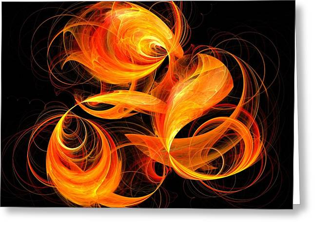 Color Image Digital Art Greeting Cards - Fireball Greeting Card by Oni H