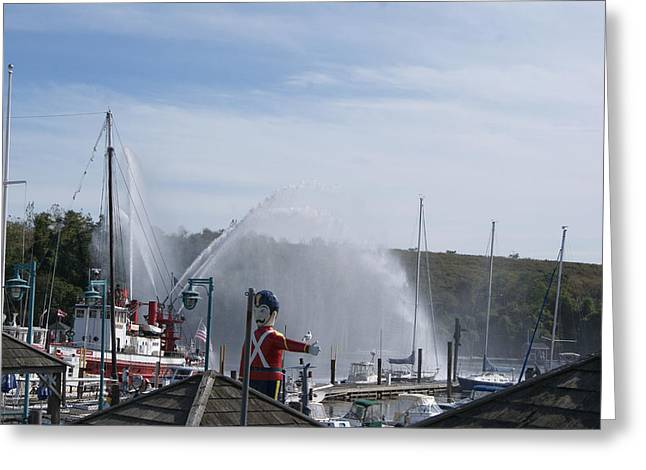 Fireboat Greeting Cards - Fireboat Display at the Cove Greeting Card by Margie Avellino