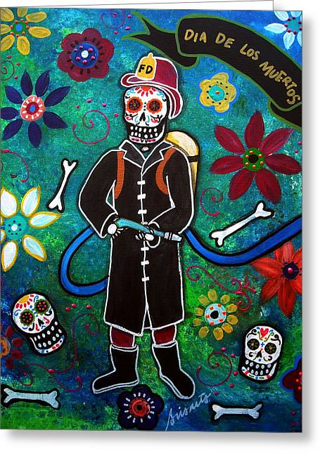 Mariachi Greeting Cards - Firefighter Day Of The Dead Greeting Card by Pristine Cartera Turkus