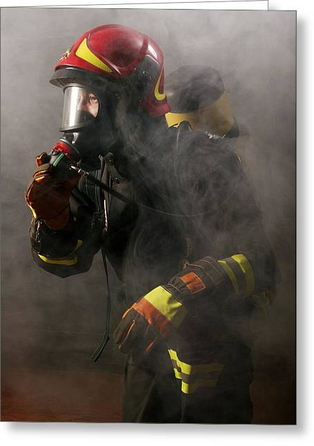 Brigade Greeting Cards - Firefighter Greeting Card by Mauro Fermariello