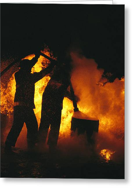 Bravery Greeting Cards - Firefighters Are Engulfed In Flames Greeting Card by Stephen Alvarez