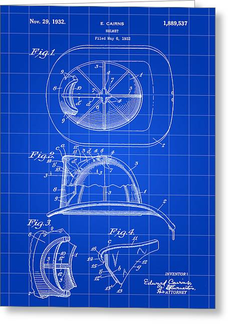 Hazmat Greeting Cards - Firefighters Helmet Patent 1932 - Blue Greeting Card by Stephen Younts