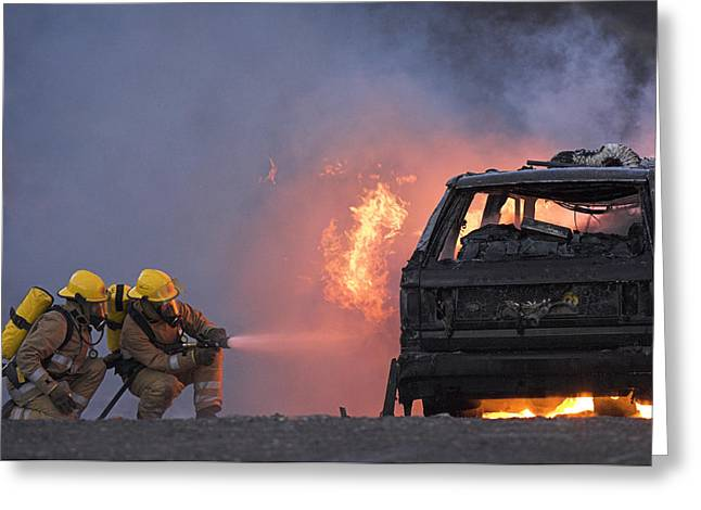 Fed Greeting Cards - Firefighters Hosing A Burning Car Greeting Card by Duncan Shaw
