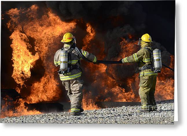 Firefighters In Action 3 Greeting Card by Bob Christopher