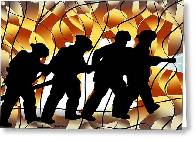 Hazmat Greeting Cards - Firefighters Greeting Card by Stephen Younts