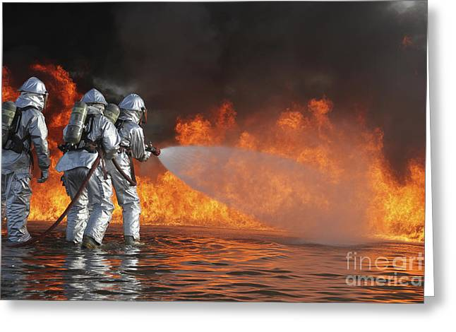 Oxygen Tank Greeting Cards - Firefighting Marines Battle A Huge Greeting Card by Stocktrek Images