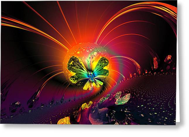 Algorithmic Abstract Greeting Cards - Firefly Greeting Card by Claude McCoy