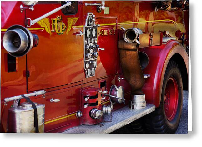Customizable Greeting Cards - Fireman - Engine no 2  Greeting Card by Mike Savad