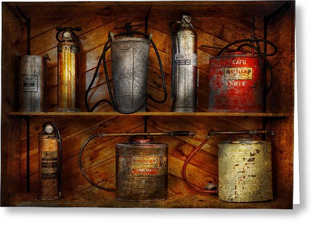Customizable Greeting Cards - Fireman - Fire Control Greeting Card by Mike Savad