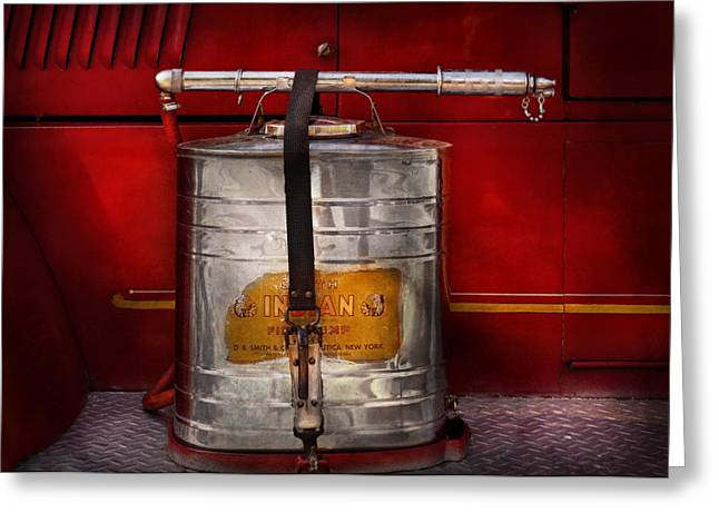 Customizable Greeting Cards - Fireman - Indian Pump  Greeting Card by Mike Savad