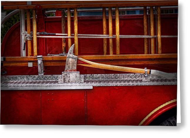 Brigade Greeting Cards - Fireman - Nice Axe  Greeting Card by Mike Savad