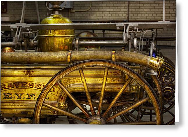 Brigade Greeting Cards - Fireman - Piano Engine - 1855  Greeting Card by Mike Savad