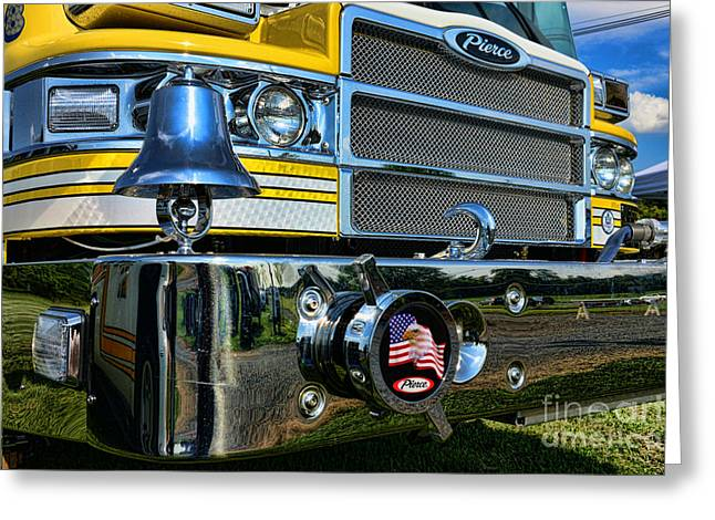Eagle And Flag Greeting Cards - Fireman - Pierce Fire Truck Greeting Card by Paul Ward
