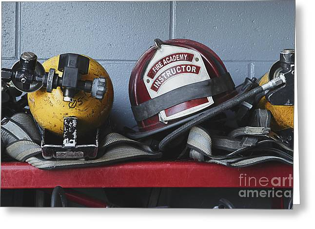 Advancement Greeting Cards - Fireman Helmets and Gear Greeting Card by Skip Nall