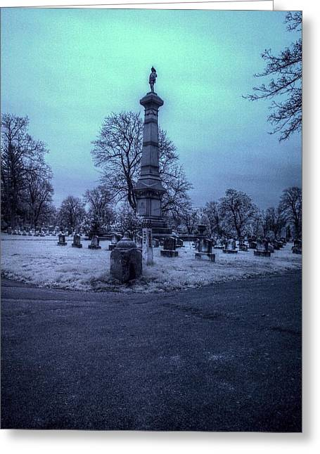 Historic Cemetery Greeting Cards - Firemans Monument Infrared Greeting Card by Joshua House