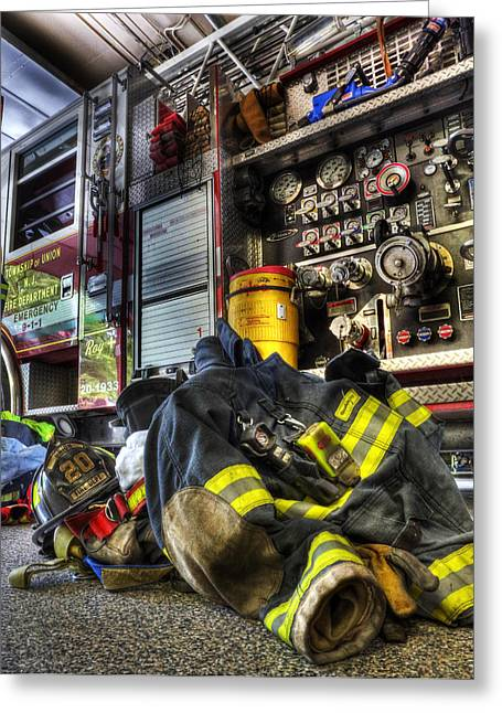 Safety Gear Greeting Cards - Firemen Always Ready for Duty - Fire Station - Union New Jersey Greeting Card by Lee Dos Santos