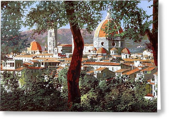 Tuscany Greeting Cards - Firenze Greeting Card by Guido Borelli