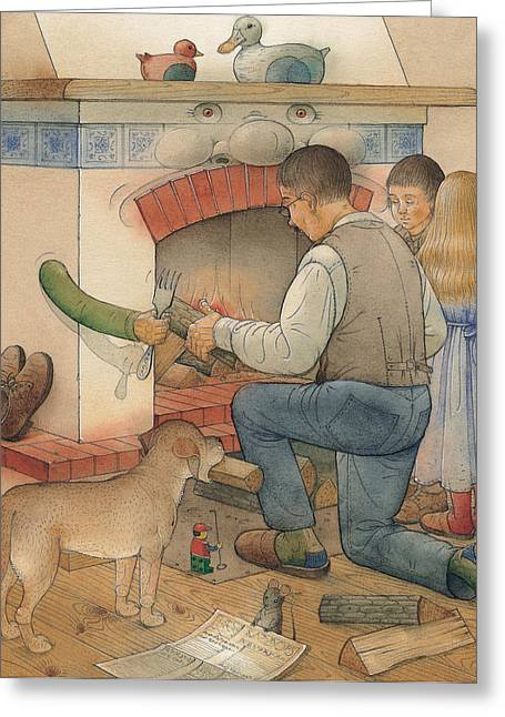 Fireplace Greeting Cards - Fireplace Greeting Card by Kestutis Kasparavicius