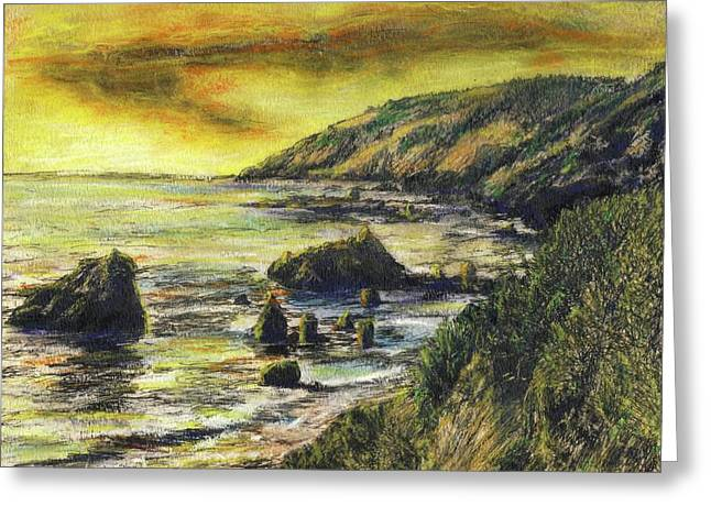 Big Sur Beach Greeting Cards - Fires Over Big Sur Greeting Card by Randy Sprout