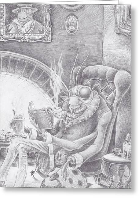 Table Wine Drawings Greeting Cards - Fireside Companion Greeting Card by Canis Canon
