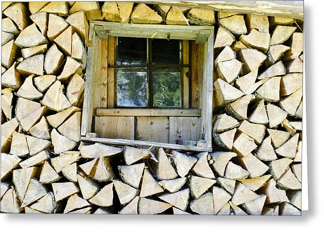 Firewood Greeting Card by Frank Tschakert