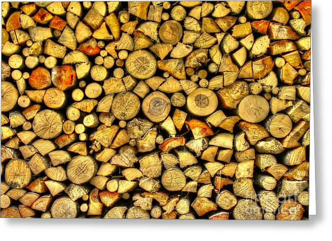 Woodpile Greeting Cards - Firewood Greeting Card by Mats Silvan
