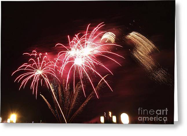 Skyrockets Greeting Cards - Firework display Greeting Card by Bernard Jaubert