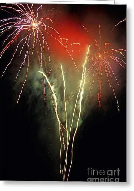 Bastille Greeting Cards - Firework display Greeting Card by Sami Sarkis
