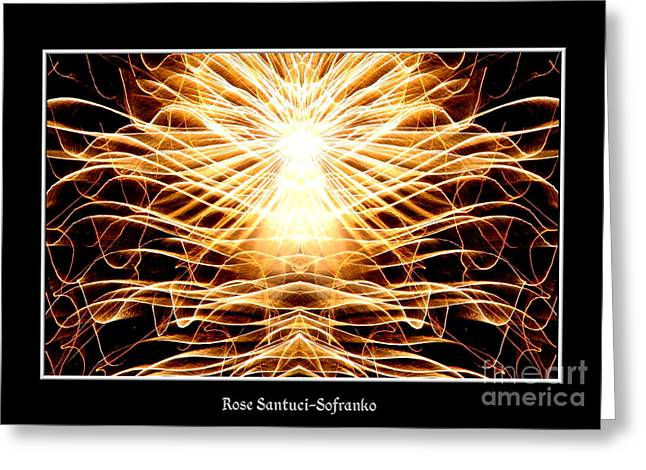 Night Angel Greeting Cards - Fireworks Angel Good triumphs over evil Greeting Card by Rose Santuci-Sofranko