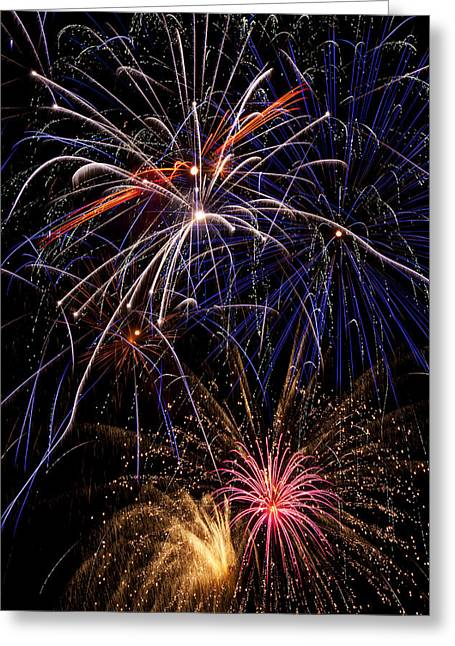Night Time Sky Greeting Cards - Fireworks Celebration  Greeting Card by Garry Gay