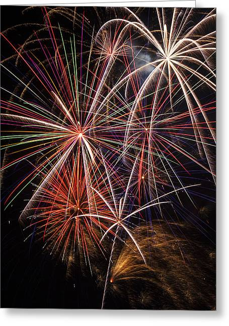 Pyrotechnics Greeting Cards - Fireworks display Greeting Card by Garry Gay