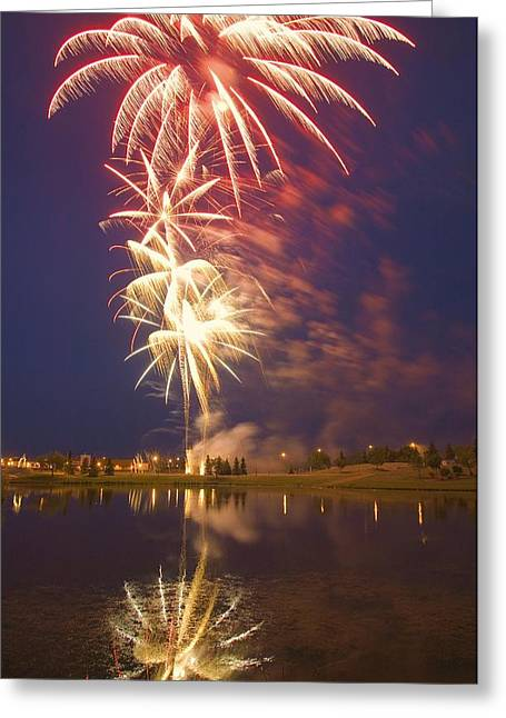Combusting Greeting Cards - Fireworks Display On Canada Day Greeting Card by Carson Ganci