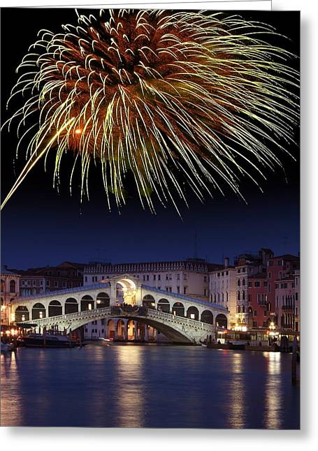 Pyrotechnics Greeting Cards - Fireworks Display, Venice Greeting Card by Tony Craddock