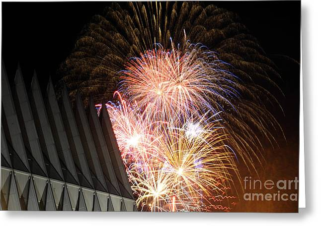 Pyrotechnics Greeting Cards - Fireworks Explode Over The Air Force Greeting Card by Stocktrek Images