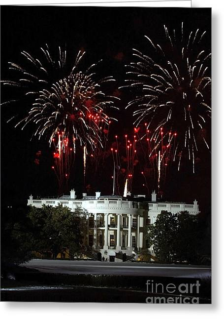 Inauguration Greeting Cards - Fireworks Explode Over The White House Greeting Card by Stocktrek Images