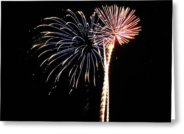 4th July Photographs Greeting Cards - Fireworks from a Boat - 7 Greeting Card by Jeffrey Peterson