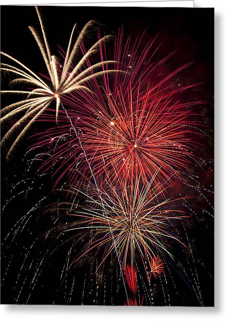 Pyrotechnics Greeting Cards - Fireworks Greeting Card by Garry Gay