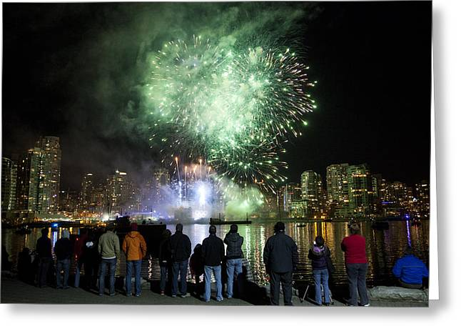 Yaletown Greeting Cards - Fireworks Go Off During The Olympics Greeting Card by Taylor S. Kennedy